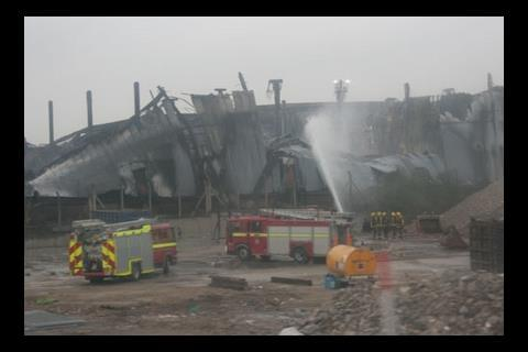 Aftermath of fire at Olympic site in Stratford